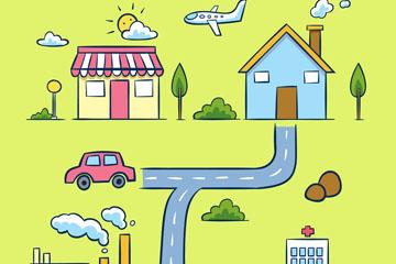 彩绘房屋街道地图矢量素材