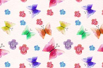 水彩绘花卉和蝴蝶无缝背景矢量图