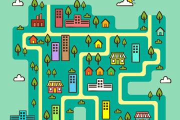 彩绘城市地图矢量素材