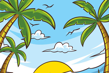 彩绘沙滩椰树风景矢量素材