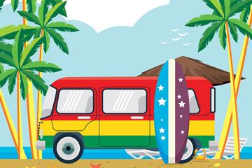 彩色夏季沙滩度假车乐虎国际线上娱乐乐虎国际