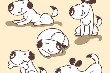 可爱白色宠物狗5个动作矢量图
