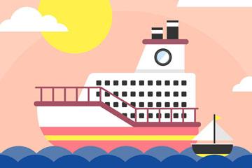 创意海上航行的游轮矢量素材
