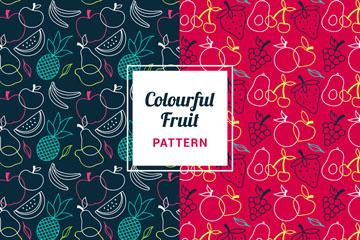 2款彩色水果无缝背景矢量图