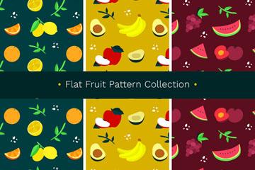 3款彩色水果无缝背景矢量图