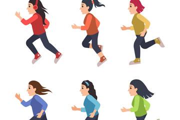 6款创意跑步健身女子矢量图