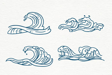6款手绘蓝色海浪矢量素材