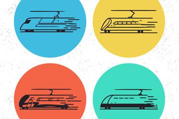 4款手绘动车图标矢量素材