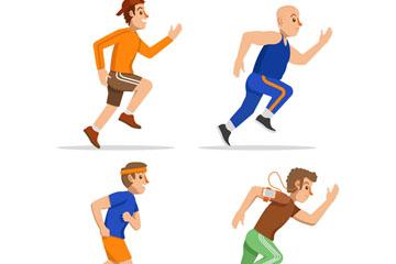 4款创意跑步健身男子矢量素材