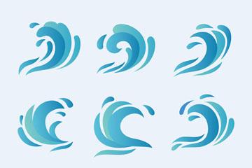 9款蓝色浪花设计矢量素材