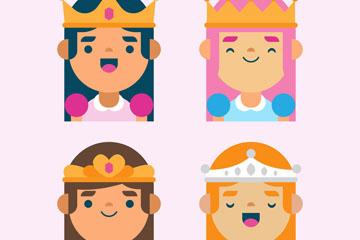 4款创意公主头像矢量素材