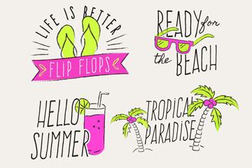4款彩绘夏季度假艺术字矢量图