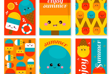 6款可爱夏季雪糕卡片矢量素材