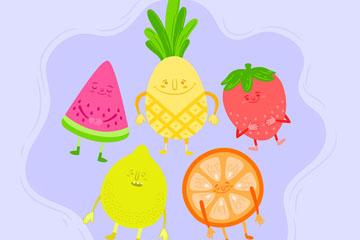 5款彩绘水果设计矢量素材