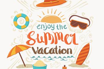 彩绘享受夏季假期艺术字矢量图