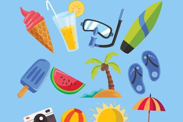 12款彩色夏季度假元素矢量素材