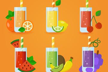 6款扁平化杯装果汁矢量图