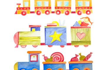3款水彩绘玩具小火车矢量素材
