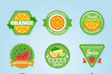 9款绿色果汁标签矢量素材
