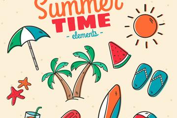 10款彩色手绘夏季时光元素乐虎国际线上娱乐图