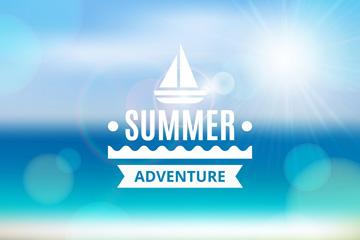 模糊夏季沙滩风景海报矢量图