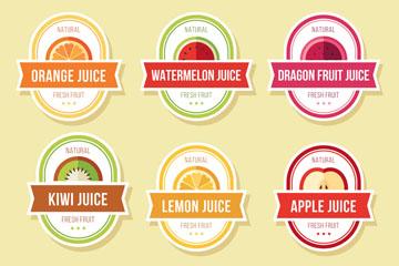 6款彩色椭圆形果汁标签矢量图