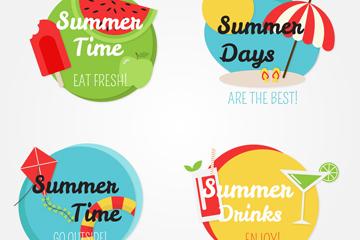 4款彩色夏季度假标签矢量图