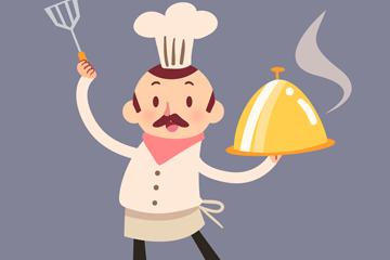卡通端菜肴的厨师矢量素材