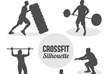 5款创意混合健身人物剪影矢量图
