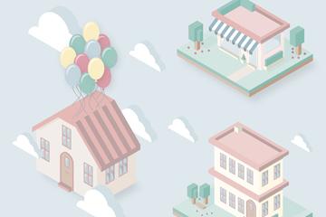 3款粉色立体房屋设计矢量素材