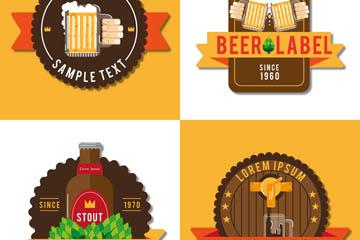 4款创意啤酒标签矢量素材