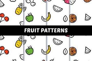 4款白色水果无缝背景矢量图
