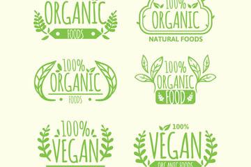 6款绿色有机食品标签矢量图