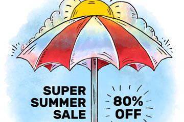 彩绘沙滩遮阳伞夏季促销海报矢量