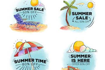 4款彩绘夏季促销标签矢量图