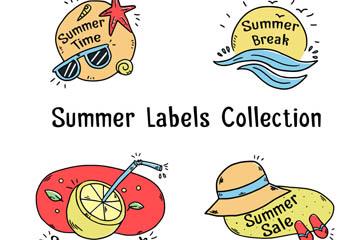 4款彩绘夏季标签设计矢量图