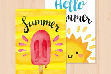 2款水彩绘夏季卡片矢量图