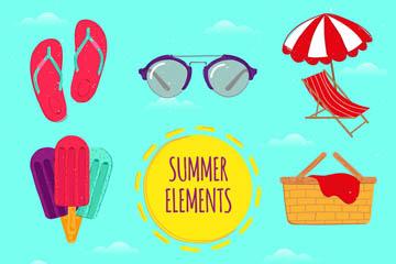 8款彩色夏季假日元素乐虎国际线上娱乐乐虎国际
