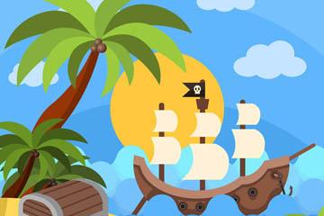创意海盗船和宝箱插画矢量素材