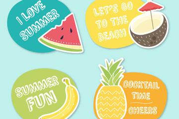 4款彩色夏季水果标签矢量素材