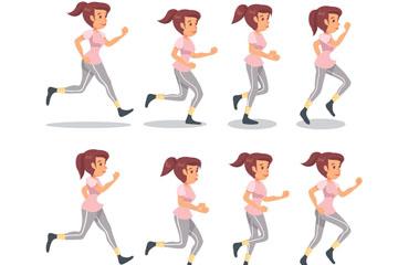 8款创意跑步女子矢量素材
