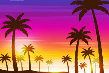 创意夕阳下的棕榈树林矢量素材