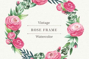 复古粉色玫瑰花花环矢量素材