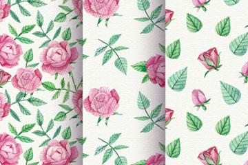 3款粉色玫瑰花无缝背景矢量图