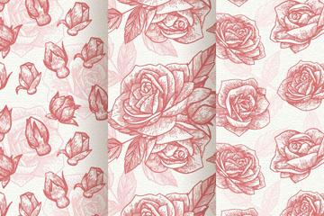 3款手绘红玫瑰无缝背景矢量图