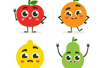 4款可爱表情水果设计矢量素材