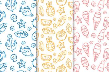 3款彩色夏季鱼和水果无缝背景矢