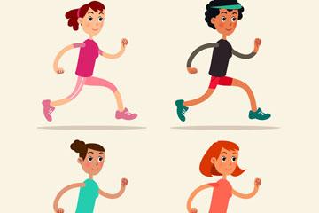 4款卡通跑步女子矢量素材