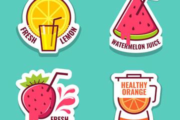4款彩色新鲜水果汁贴纸矢量图
