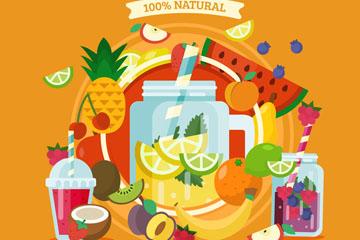 彩色多种新鲜水果果汁矢量素材